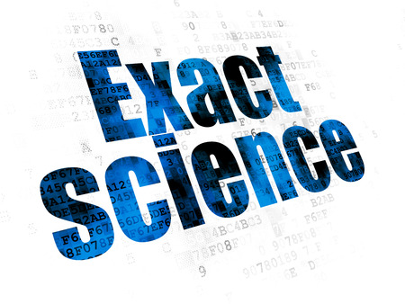Science concept: Pixelated blue text Exact Science on Digital background