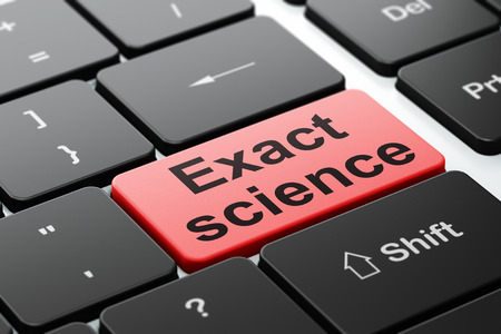 exact science: Science concept: computer keyboard with word Exact Science, selected focus on enter button background, 3D rendering Stock Photo