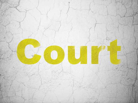 cement court: Law concept: Yellow Court on textured concrete wall background