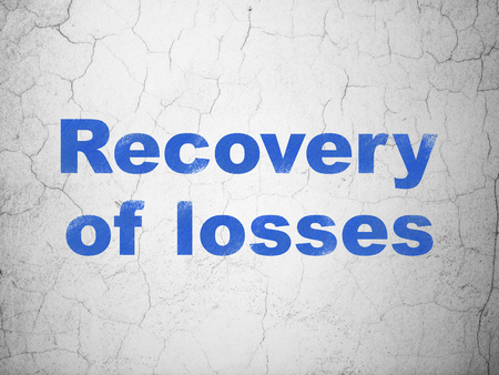 recovery: Money concept: Blue Recovery Of losses on textured concrete wall background