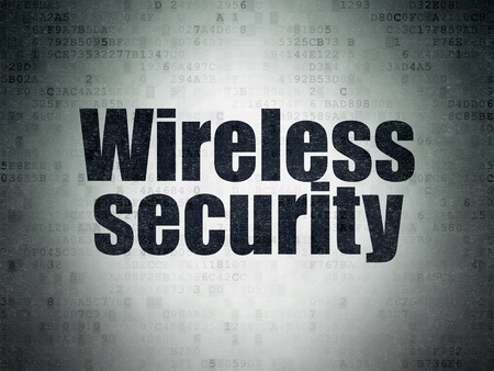 privat: Protection concept: Painted black word Wireless Security on Digital Data Paper background