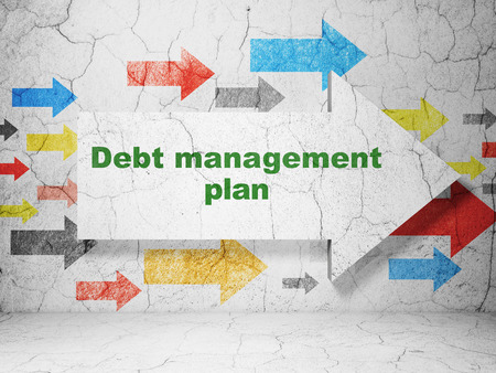 debt management: Business concept:  arrow with Debt Management Plan on grunge textured concrete wall background, 3D rendering