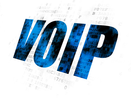 Web development concept: Pixelated blue text VOIP on Digital background Stock Photo