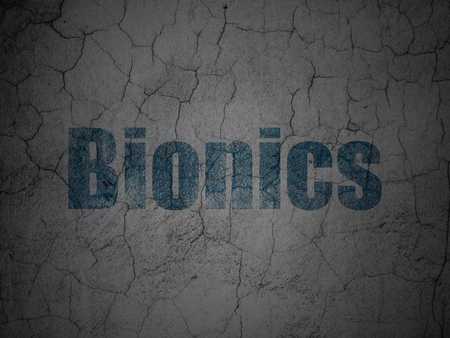 bionics: Science concept: Blue Bionics on grunge textured concrete wall background Stock Photo