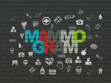 mammogram: Medicine concept: Painted multicolor text Mammogram on Black Brick wall background with  Hand Drawn Medicine Icons Stock Photo