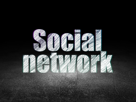 Social media concept: Glowing text Social Network in grunge dark room with Dirty Floor, black background Stock Photo