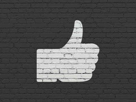 microblog: Social media concept: Painted white Thumb Up icon on Black Brick wall background Stock Photo