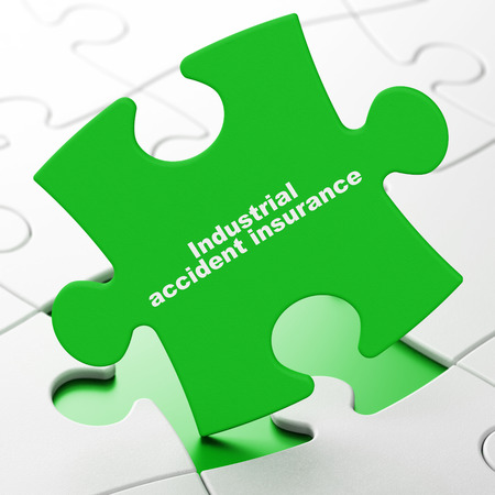 brainteaser: Insurance concept: Industrial Accident Insurance on Green puzzle pieces background, 3D rendering