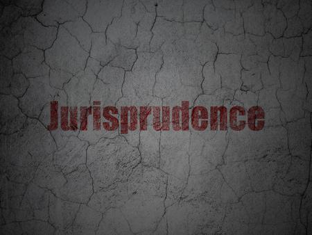 jurisprudencia: Law concept: Red Jurisprudence on grunge textured concrete wall background