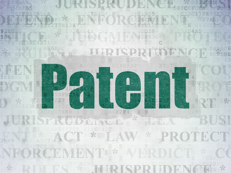 data protection act: Law concept: Painted green text Patent on Digital Data Paper background with   Tag Cloud