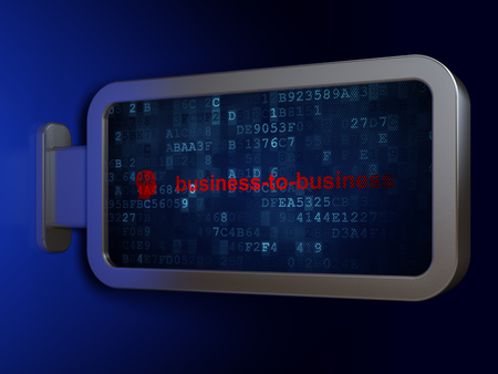 Business concept: Business-to-business and Head With Finance Symbol on advertising billboard background, 3D rendering
