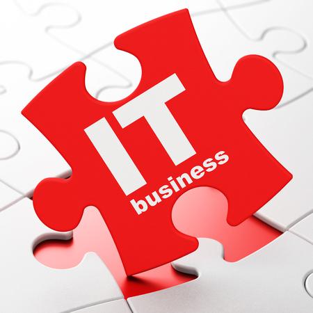 Concetto di affari: L'affare dell'IT sul puzzle rosso collega il fondo, rappresentazione 3D Archivio Fotografico