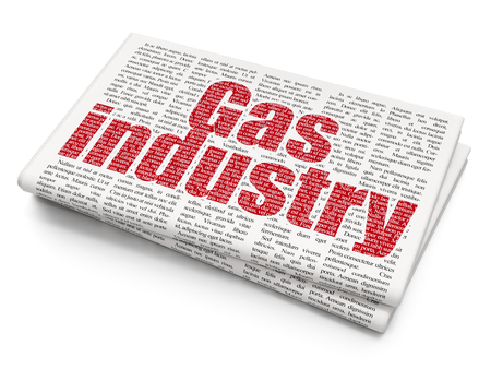 urgent announcement: Industry concept: Pixelated red text Gas Industry on Newspaper background, 3D rendering