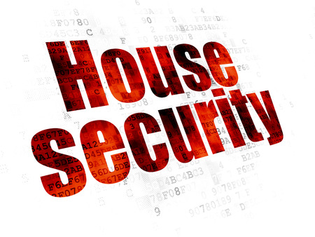 Security concept: Pixelated red text House Security on Digital background