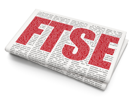 britannia: Stock market indexes concept: Pixelated red text FTSE on Newspaper background, 3D rendering