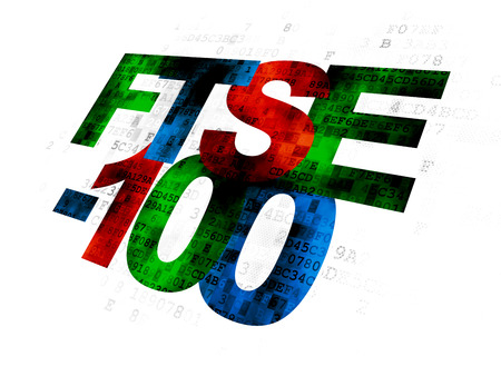 Stock market indexes concept: Pixelated multicolor text FTSE-100 on Digital background