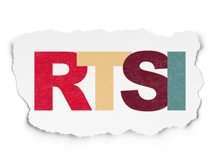 indexes: Stock market indexes concept: Painted multicolor text RTSI on Torn Paper background