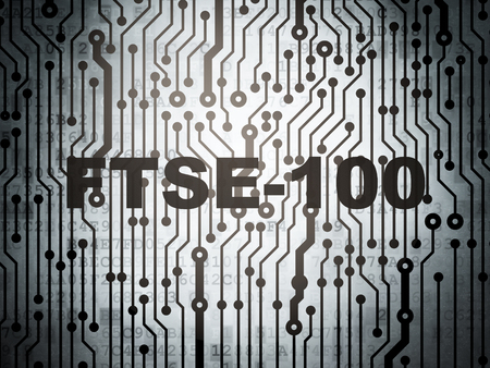 indexes: Stock market indexes concept: circuit board with  word FTSE-100, 3D rendering