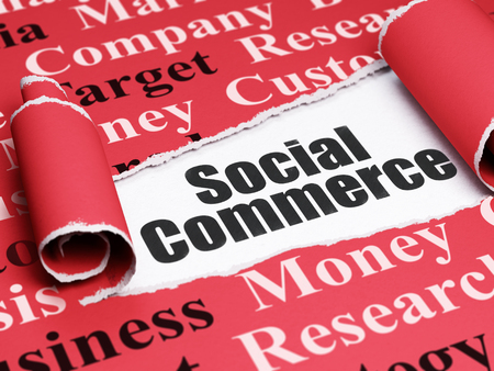 Marketing concept: black text Social Commerce under the curled piece of Red torn paper with  Tag Cloud, 3D rendering