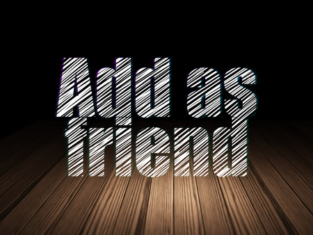 add as friend: Social media concept: Glowing text Add as Friend in grunge dark room with Wooden Floor, black background