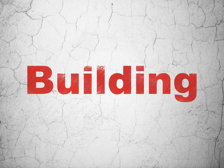 abandoned building: Construction concept: Red Building on textured concrete wall background Stock Photo