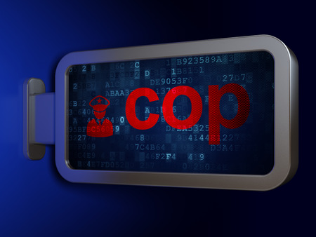 bill of rights: Law concept: Cop and Police on advertising billboard background, 3D rendering