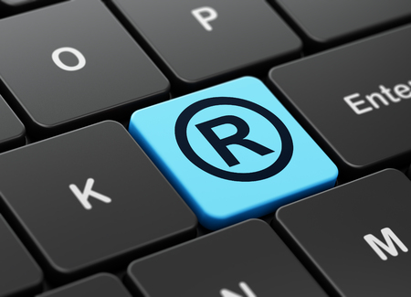 r regulation: Law concept: computer keyboard with Registered icon on enter button background, 3D rendering