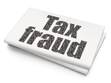 Law concept: Pixelated black text Tax Fraud on Blank Newspaper background, 3D rendering