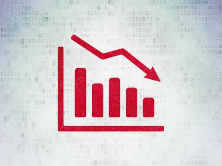 Concepto de negocio: icono rojo declined gráfico en el fondo de papel digital de datos