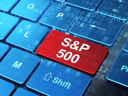 Het concept van beursindices: het computertoetsenbord met woord S & P 500 voert knoopachtergrond, het 3D teruggeven in Stockfoto