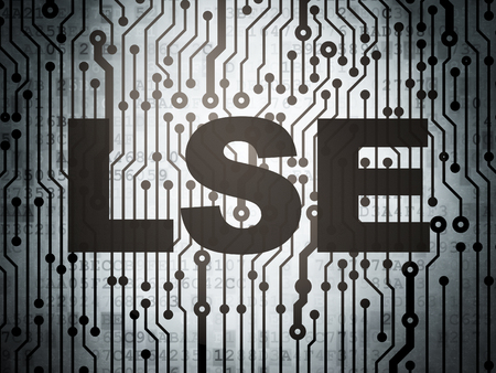britannia: Stock market indexes concept: circuit board with  word LSE, 3D rendering Stock Photo