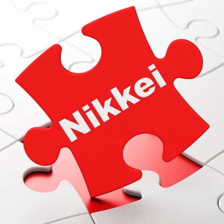indexes: Stock market indexes concept: Nikkei on Red puzzle pieces background, 3D rendering