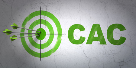 indexes: Success Stock market indexes concept: arrows hitting the center of target, Green CAC on wall background, 3D rendering