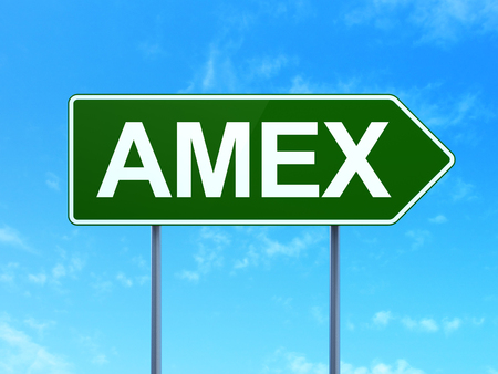 indexes: Stock market indexes concept: AMEX on green road highway sign, clear blue sky background, 3D rendering Stock Photo