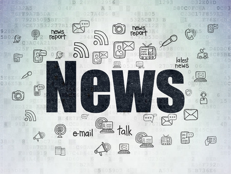 urgent announcement: News concept: Painted black text News on Digital Data Paper background with  Hand Drawn News Icons