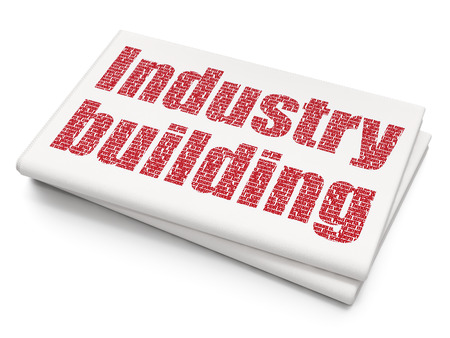 urgent announcement: Manufacuring concept: Pixelated red text Industry Building on Blank Newspaper background, 3D rendering
