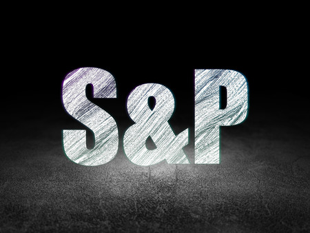 Stock market indexes concept: Glowing text S&P in grunge dark room with Dirty Floor, black background Stock Photo