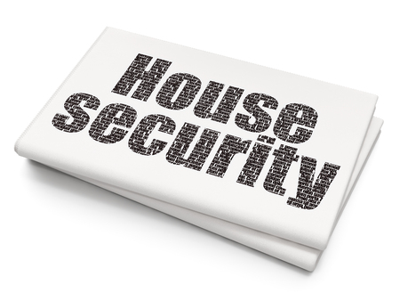Safety concept: Pixelated black text House Security on Blank Newspaper background, 3D rendering