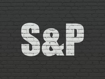 indexes: Stock market indexes concept: Painted white text S&P on Black Brick wall background