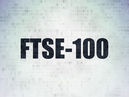 britannia: Stock market indexes concept: Painted black word FTSE-100 on Digital Data Paper background
