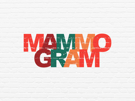 mammogram: Healthcare concept: Painted multicolor text Mammogram on White Brick wall background Stock Photo