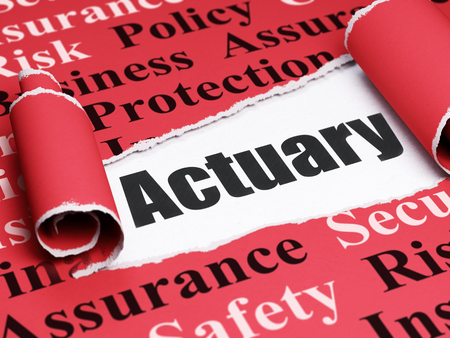 actuary: Insurance concept: black text Actuary under the curled piece of Red torn paper with  Tag Cloud, 3D rendering