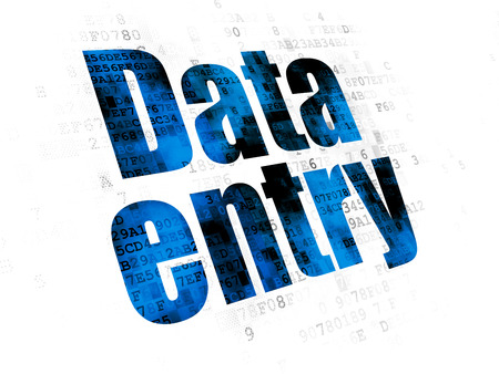 Information concept: Pixelated blue text Data Entry on Digital background