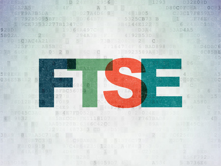 indexes: Stock market indexes concept: Painted multicolor text FTSE on Digital Data Paper background