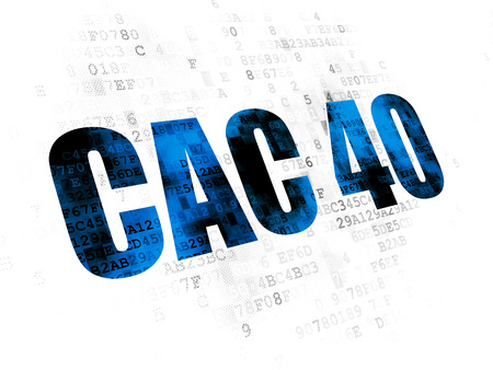 indexes: Stock market indexes concept: Pixelated blue text CAC 40 on Digital background Stock Photo