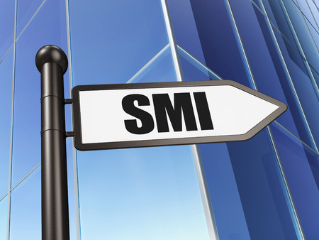 indexes: Stock market indexes concept: sign SMI on Building background, 3D rendering