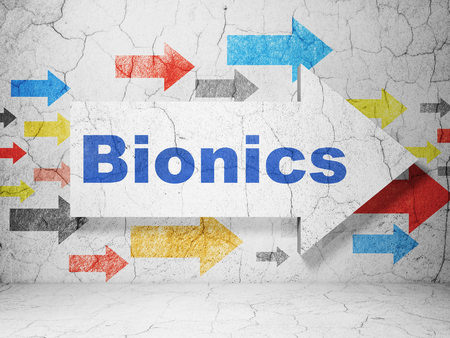 bionics: Science concept:  arrow with Bionics on grunge textured concrete wall background, 3D rendering