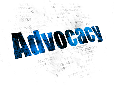 data protection act: Law concept: Pixelated blue text Advocacy on Digital background Stock Photo