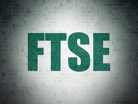britannia: Stock market indexes concept: Painted green word FTSE on Digital Data Paper background