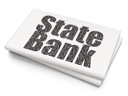 Money concept: Pixelated black text State Bank on Blank Newspaper background, 3D rendering